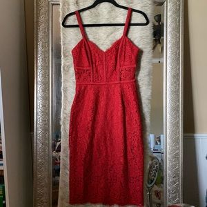 Sz 2 red lace midi dress